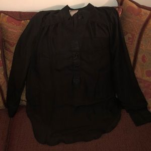 New! Black Casual Sheer Button Collar Blouse Large